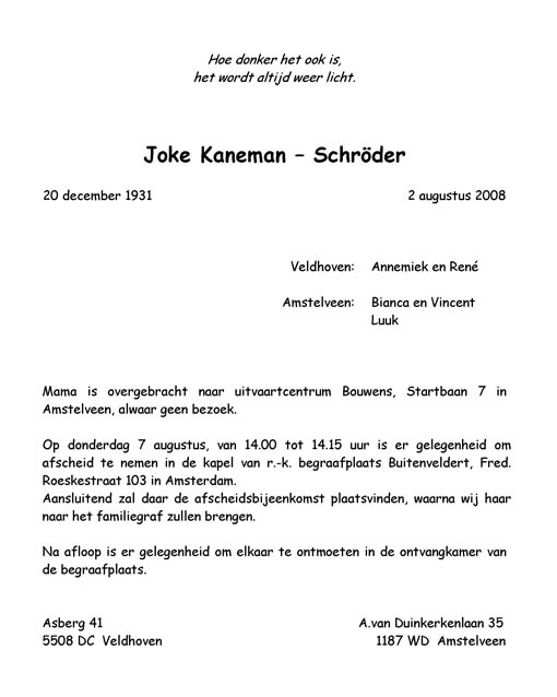 Rouwkaart Joke Kaneman